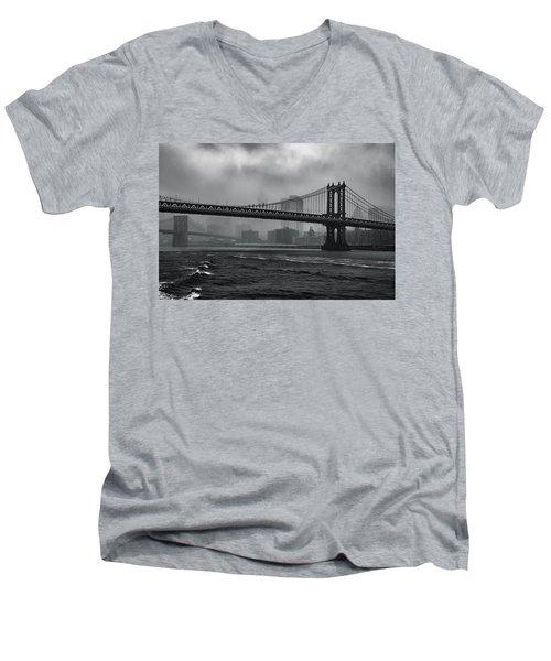Manhattan Bridge In A Storm Men's V-Neck T-Shirt