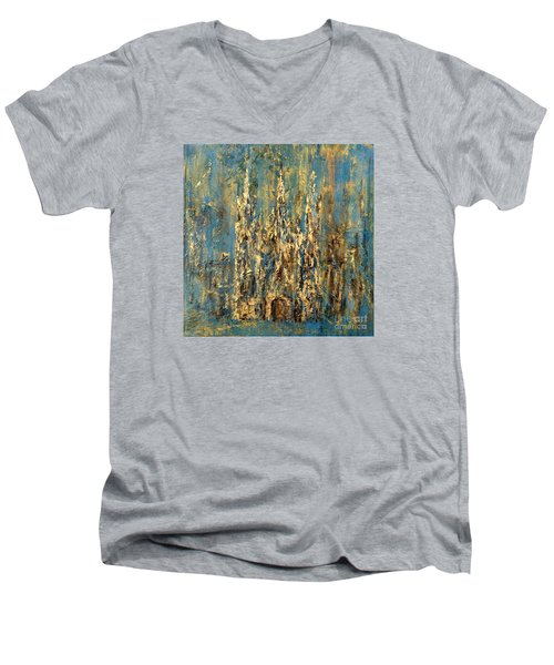 Men's V-Neck T-Shirt featuring the painting Gothic Church  by Arturas Slapsys