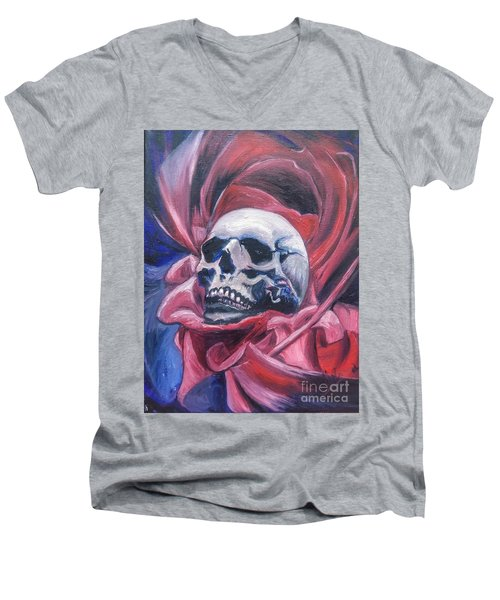 Men's V-Neck T-Shirt featuring the painting Gothic Romance by Isabella F Abbie Shores FRSA