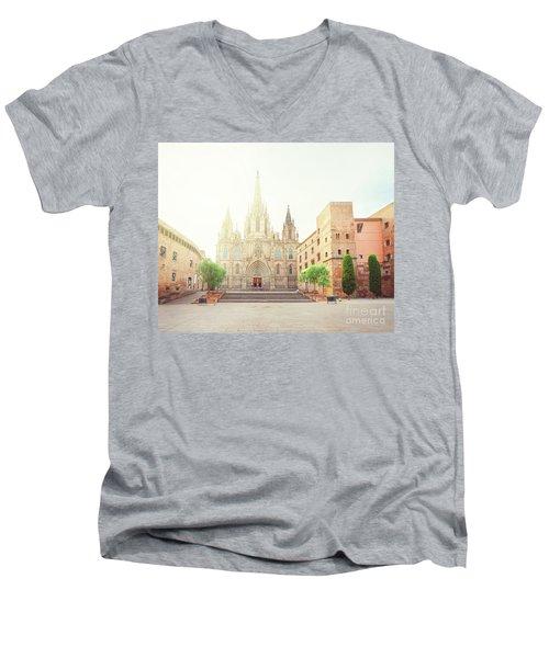 Gotic Cathedral  Of Barcelona Men's V-Neck T-Shirt