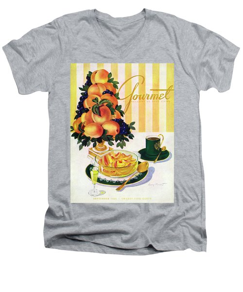 Gourmet Cover Featuring A Centerpiece Of Peaches Men's V-Neck T-Shirt