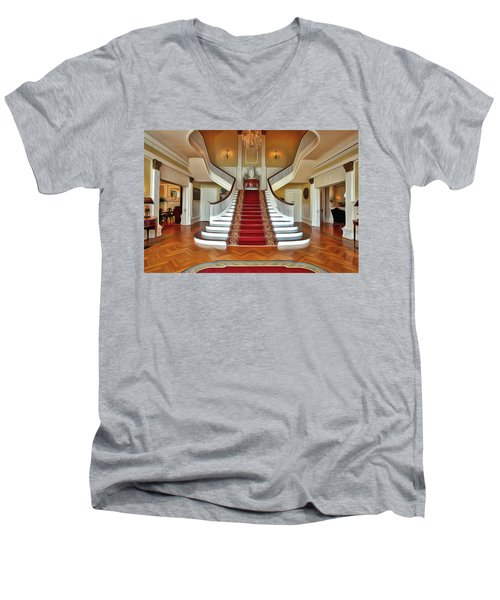 Men's V-Neck T-Shirt featuring the painting Governor's House by Harry Warrick