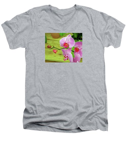 Men's V-Neck T-Shirt featuring the photograph Grace In Space by Lynda Lehmann