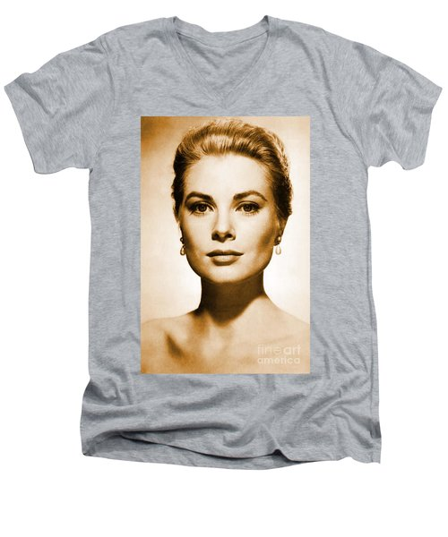 Grace Kelly Men's V-Neck T-Shirt by Opulent Creations