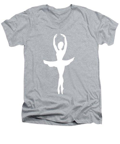 Graceful Silhouette Of Dancing Ballerina Men's V-Neck T-Shirt by Irina Sztukowski