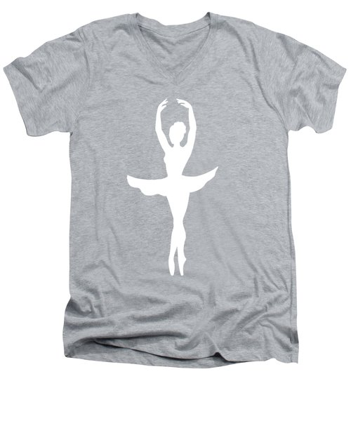 Graceful Silhouette Of Dancing Ballerina Men's V-Neck T-Shirt