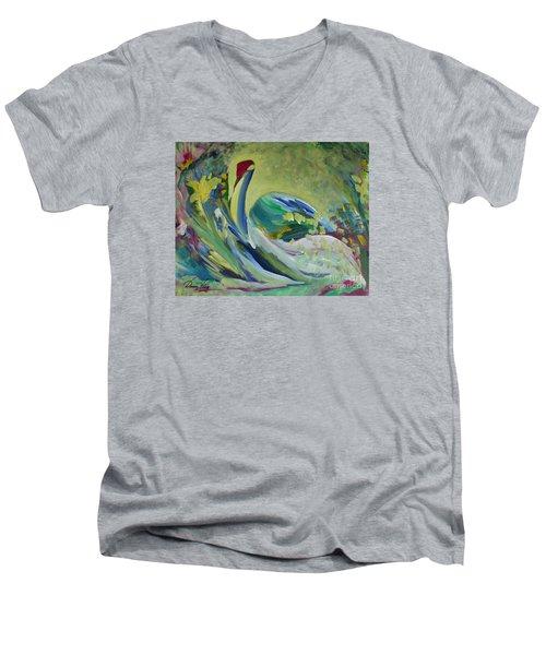 Graceful Swan Men's V-Neck T-Shirt by Denise Hoag