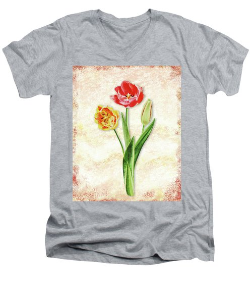 Men's V-Neck T-Shirt featuring the painting Graceful Watercolor Tulips by Irina Sztukowski