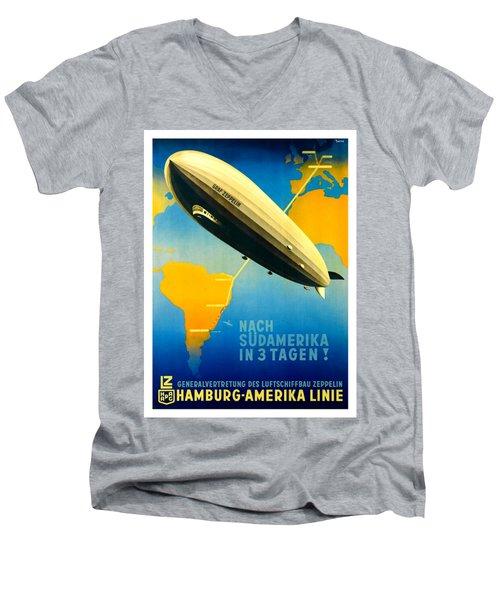 Graf Zeppelin Hamburg Amerika Line II 1936 Ottomar Anton Men's V-Neck T-Shirt