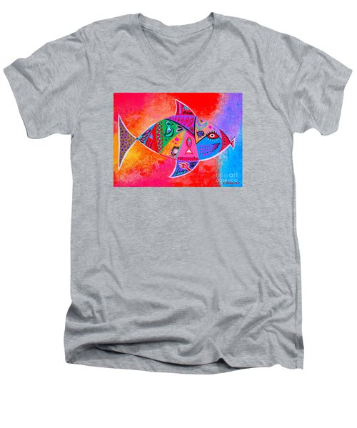 Graffiti Fish Men's V-Neck T-Shirt