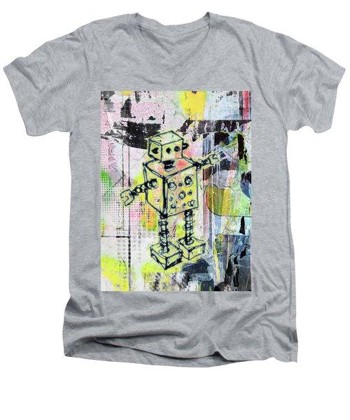 Graffiti Graphic Robot Men's V-Neck T-Shirt by Roseanne Jones