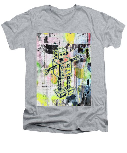 Graffiti Graphic Robot Men's V-Neck T-Shirt