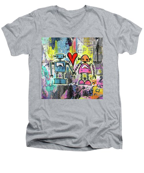 Graffiti Pop Robot Love Men's V-Neck T-Shirt by Roseanne Jones