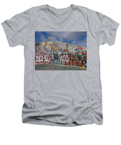 Men's V-Neck T-Shirt featuring the photograph Graffiti Wall by Julia Wilcox
