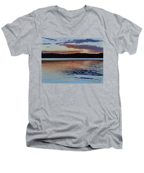 Men's V-Neck T-Shirt featuring the painting Graham Lake by Kenneth M Kirsch
