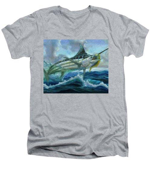 Grand Blue Marlin Jumping Eating Mahi Mahi Men's V-Neck T-Shirt