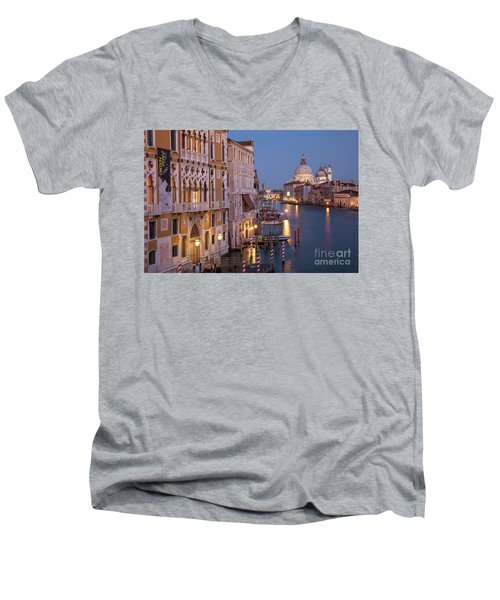 Men's V-Neck T-Shirt featuring the photograph Grand Canal Twilight by Brian Jannsen