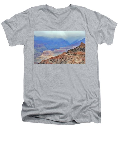 Grand Canyon Levels Men's V-Neck T-Shirt by Debby Pueschel