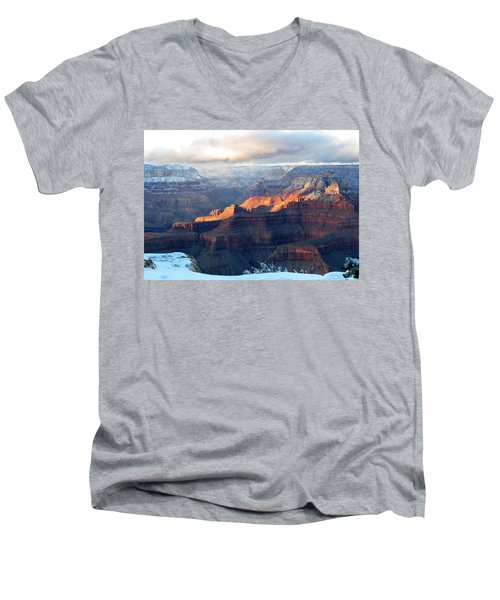 Men's V-Neck T-Shirt featuring the photograph Grand Canyon With Snow by Laurel Powell