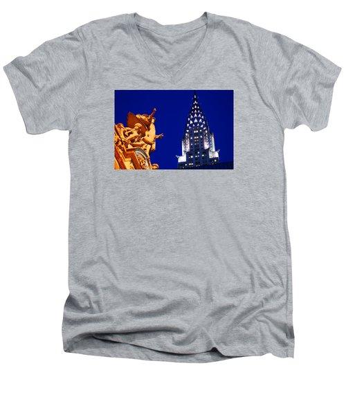 Grand Central Station And Chrysler Building Men's V-Neck T-Shirt by James Kirkikis