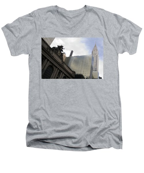Men's V-Neck T-Shirt featuring the photograph Grand Central And The Chrysler Building by Michael Dorn