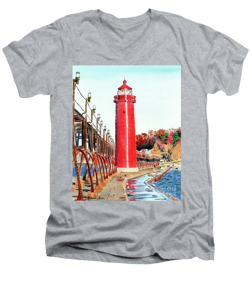 Men's V-Neck T-Shirt featuring the painting Grand Haven Autumn by LeAnne Sowa
