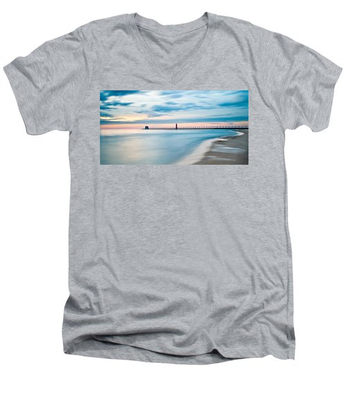 Grand Haven Pier - Smooth Waters Men's V-Neck T-Shirt