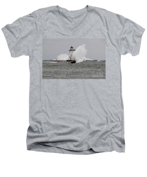 Grand Marais Lighthouse Men's V-Neck T-Shirt by Sandra Updyke