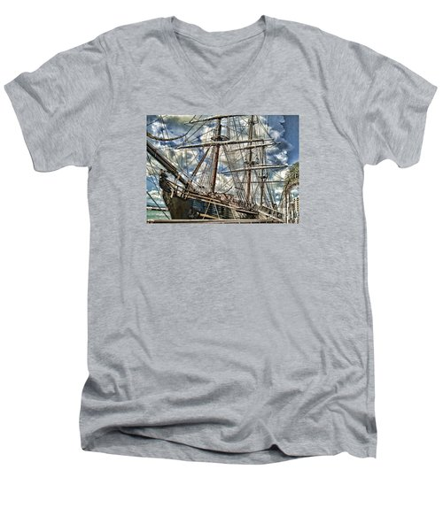 Men's V-Neck T-Shirt featuring the photograph Grand Old Sailing Ship by Roberta Byram