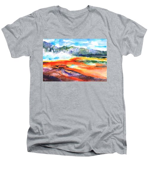 Grand Prismatic Hot Spring Men's V-Neck T-Shirt by Betty M M Wong