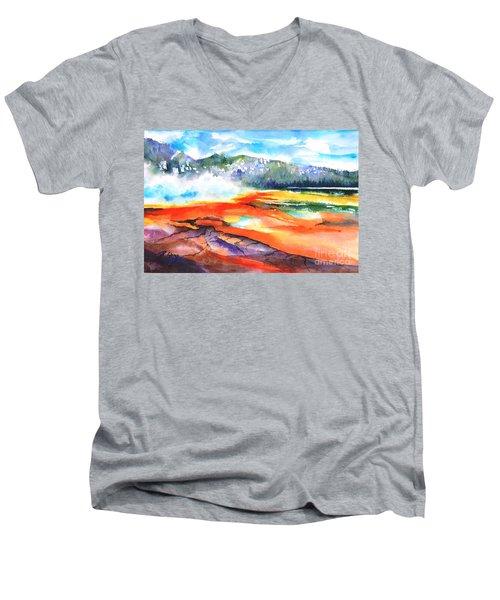 Grand Prismatic Hot Spring Men's V-Neck T-Shirt