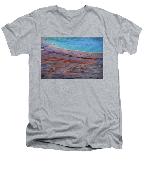 Men's V-Neck T-Shirt featuring the photograph Grand Prismatic Spring Detail by Jennifer Ancker