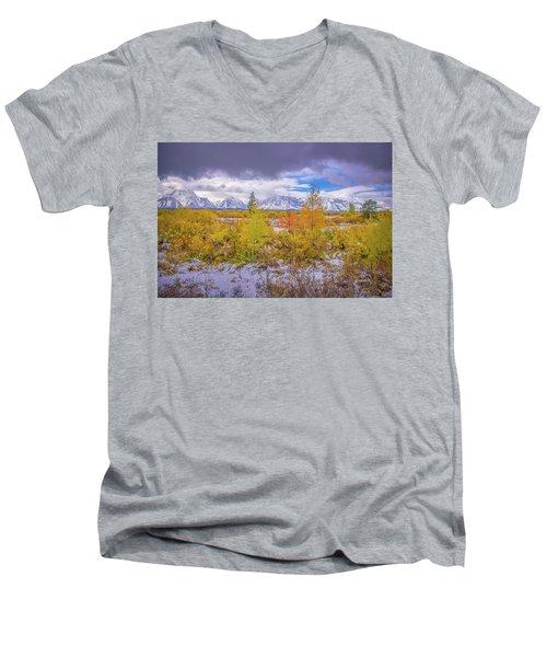 Grand Teton Fall Snowfall Men's V-Neck T-Shirt
