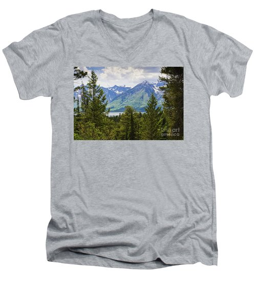 Grand Teton Mountains Men's V-Neck T-Shirt
