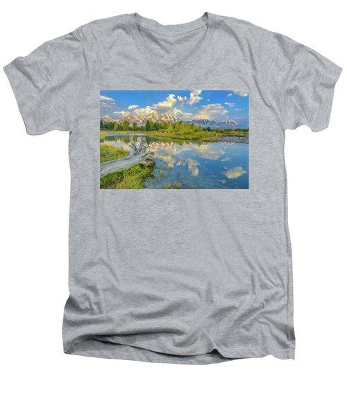 Grand Teton Riverside Morning Reflection Men's V-Neck T-Shirt