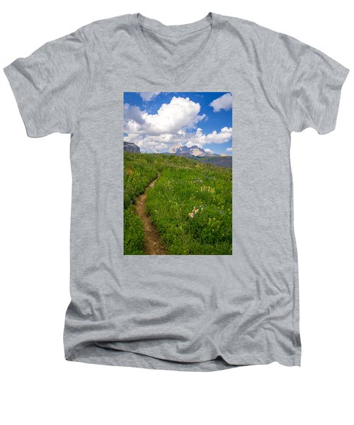 Grand Teton Scenic Hiking Path Men's V-Neck T-Shirt by Serge Skiba