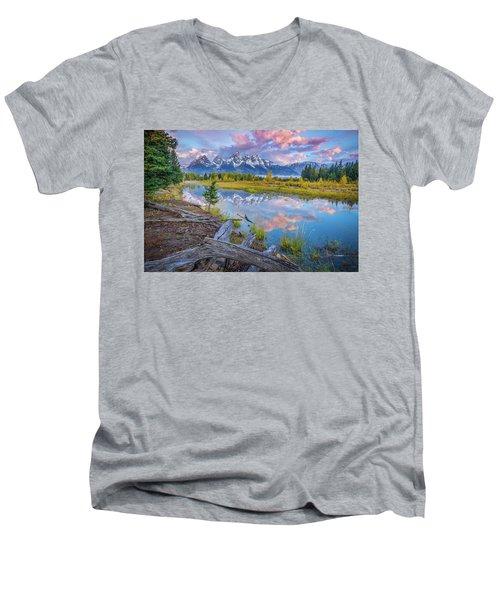 Grand Teton Sunrise Reflection Men's V-Neck T-Shirt