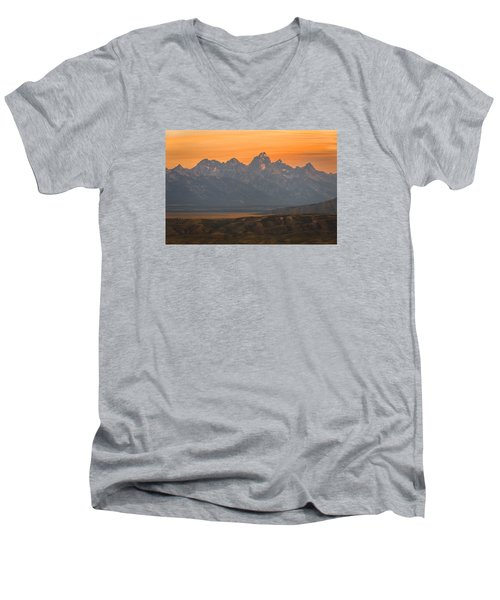 Grand Teton Sunset Men's V-Neck T-Shirt by Serge Skiba