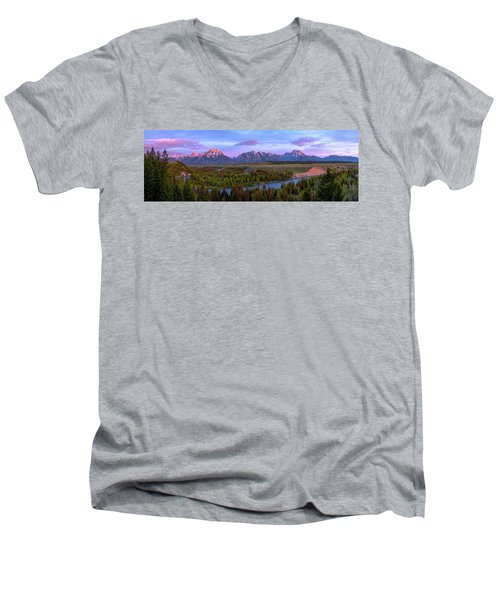 Grand Tetons Men's V-Neck T-Shirt by Chad Dutson