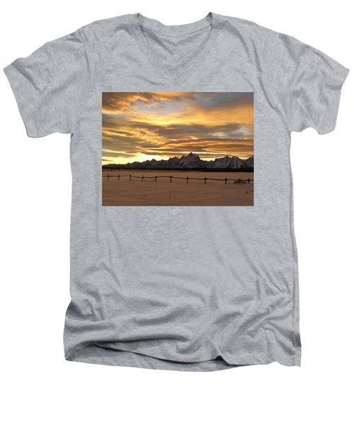 Grand Tetons In January Glory Men's V-Neck T-Shirt