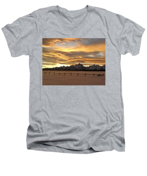 Grand Tetons In January Glory Men's V-Neck T-Shirt