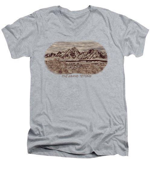 Grand Tetons Woodburning 2 Men's V-Neck T-Shirt by John M Bailey
