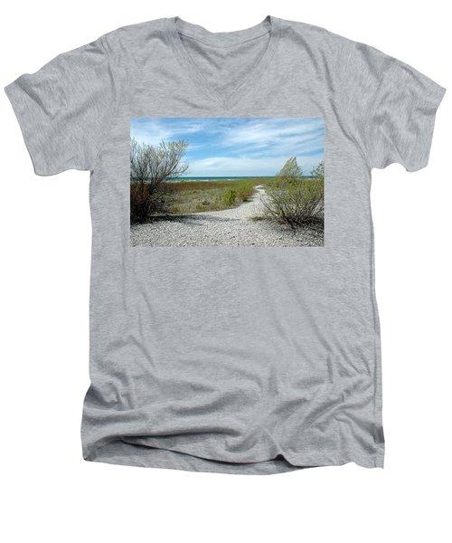 Men's V-Neck T-Shirt featuring the photograph Grand Traverse Bay Path by LeeAnn McLaneGoetz McLaneGoetzStudioLLCcom