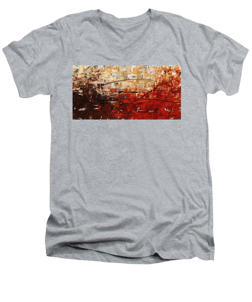 Men's V-Neck T-Shirt featuring the painting Grand Vision by Carmen Guedez