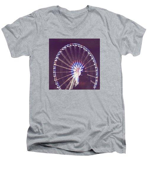Grande Roue De Paris By Night Men's V-Neck T-Shirt by Aurella FollowMyFrench