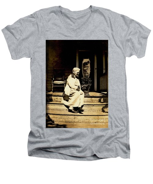 Men's V-Neck T-Shirt featuring the photograph Grandma Jennie by Paul W Faust - Impressions of Light