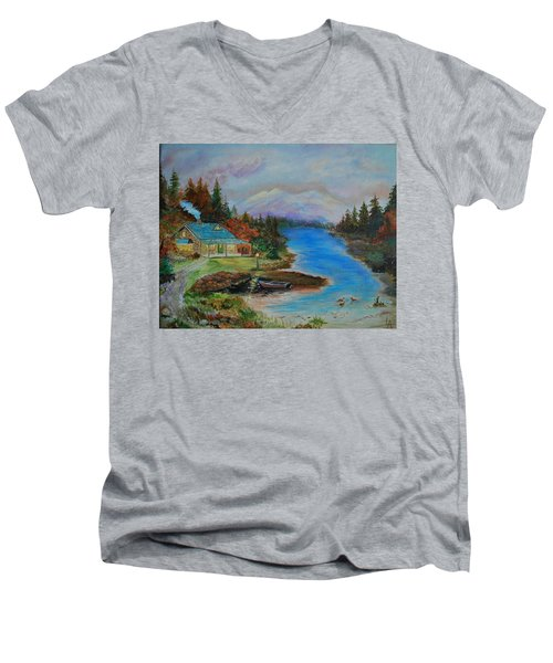 Men's V-Neck T-Shirt featuring the painting Grandmas Cabin by Leslie Allen