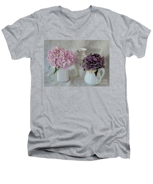 Men's V-Neck T-Shirt featuring the photograph Grandmother's Vanity Top by Sherry Hallemeier