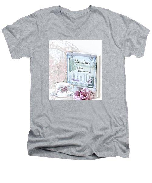 Grandmother...tell Me Your Memories Men's V-Neck T-Shirt by Sherry Hallemeier