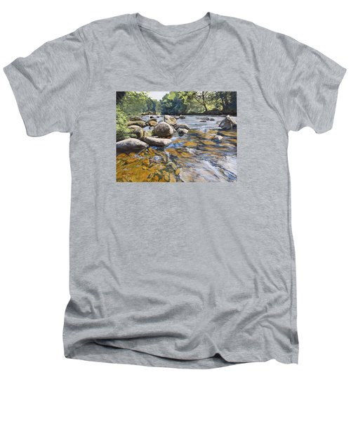 Men's V-Neck T-Shirt featuring the painting Granite Boulders East Okement River by Lawrence Dyer